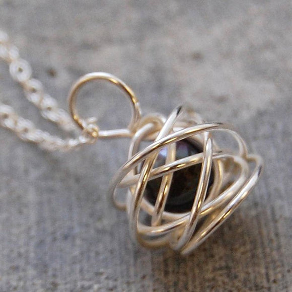 Silver Pearl Cage Necklace in Black