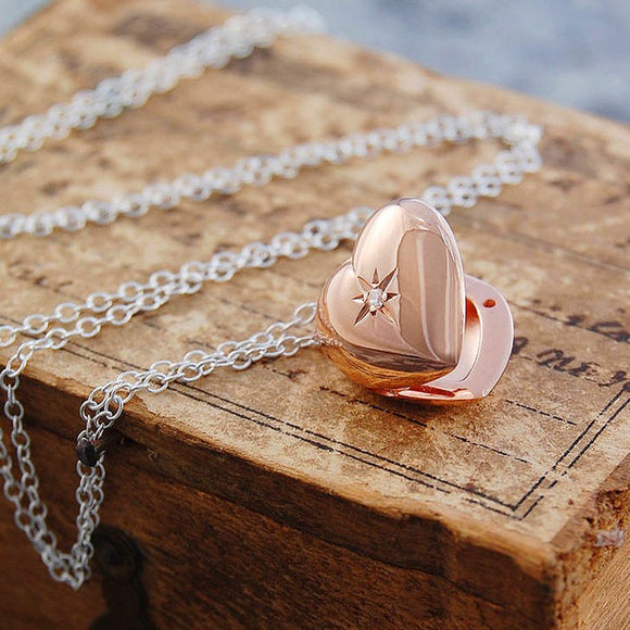 Rose Gold Heart Locket with White Topaz