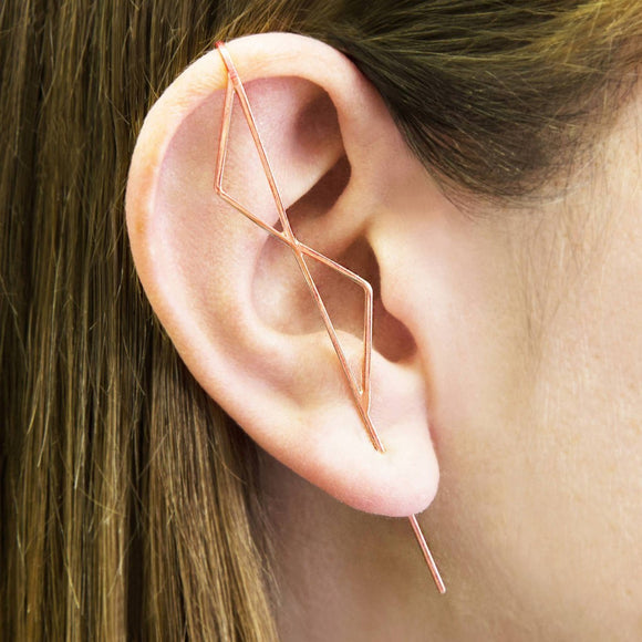 Double Triangle Rose Gold Ear Climbers
