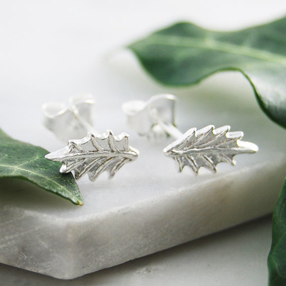 Holly Leaf Silver Stud Earrings