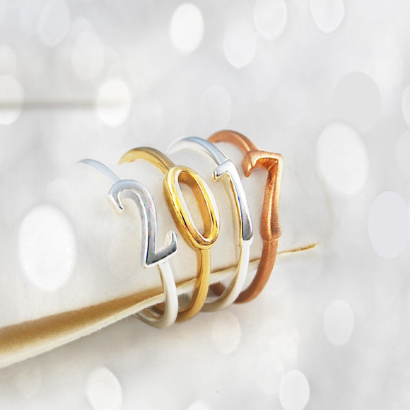 Silver and Gold Number Rings