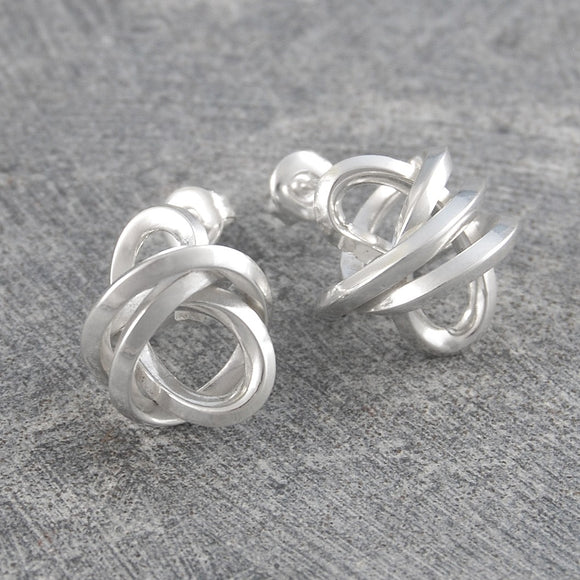 Angular Knot Silver Stud Earrings