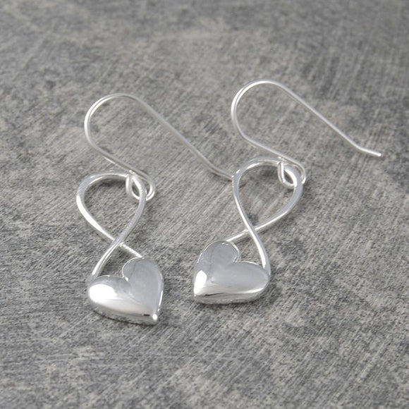 Silver Infinity Heart Drop Earrings