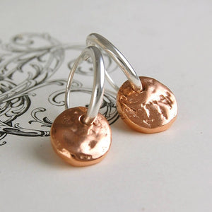 Organic Round Rose Gold Hoop Earrings