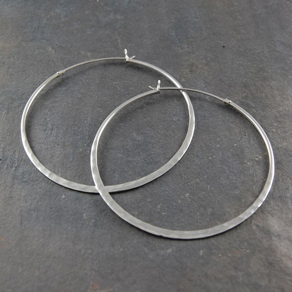 Silver Hammered Large Hoop Earrings