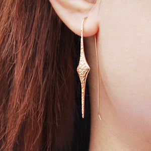 Textured Rose Gold Drop Earrings