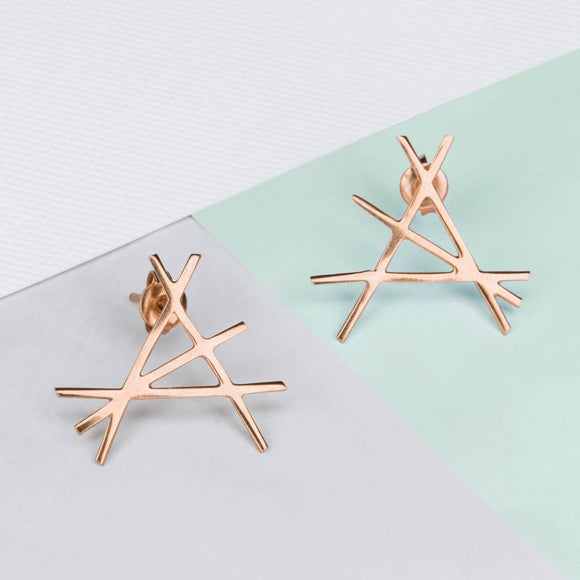 Abstract Rose Gold Stud Earrings