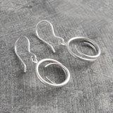 Tapered Round Silver Drop Earrings