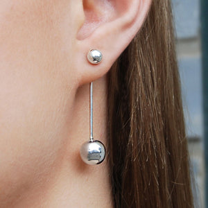 Silver Ball Ear Jackets
