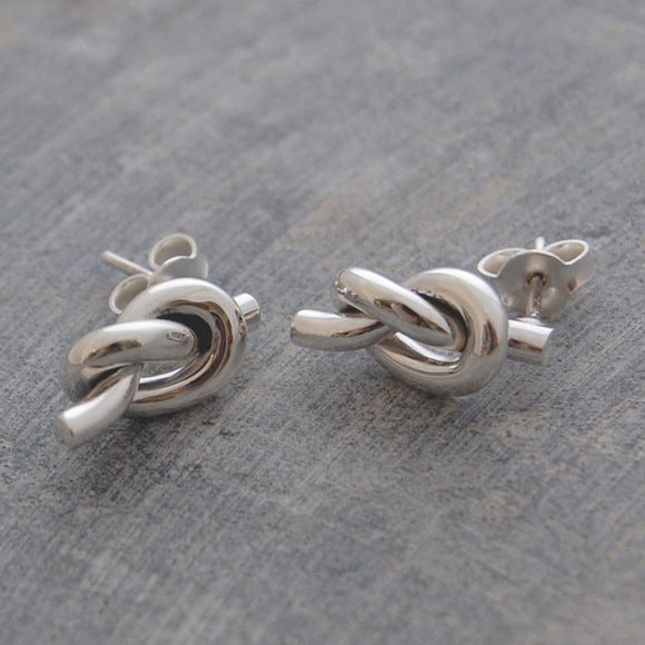 Large Nautical Knot Silver Stud Earrings