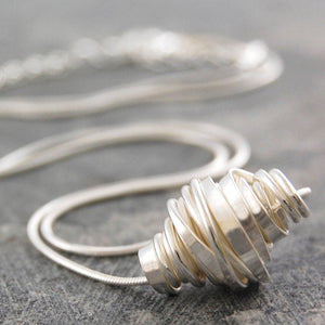 Coiled Silver Pendant Necklace