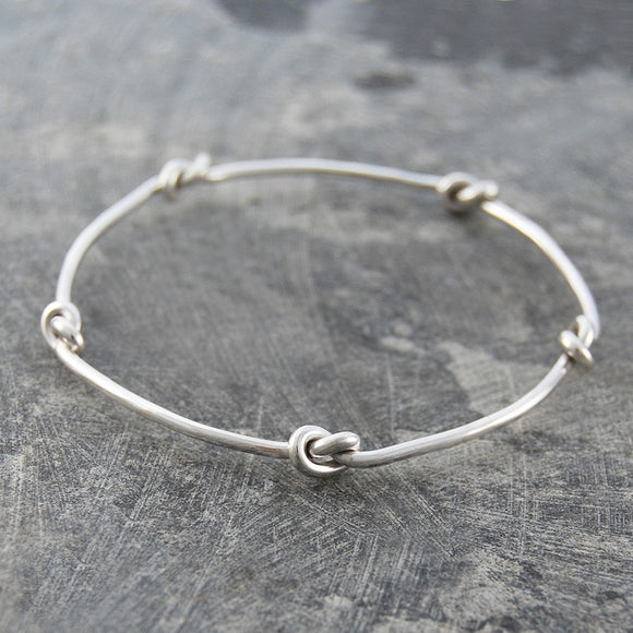 Nautical Knot Silver Stacking Bangle