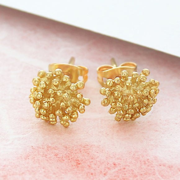 Dandelion Gold Stud Earrings