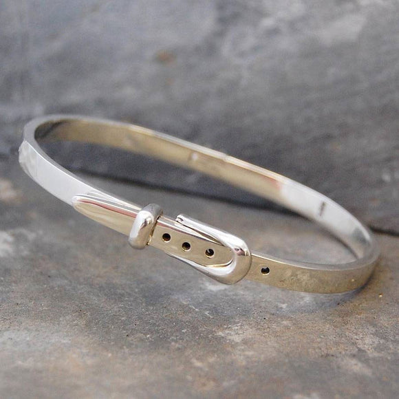Belt Hinged Silver Bangle