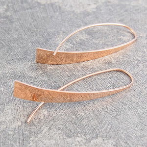 Elliptical Rose Gold Drop Earrings