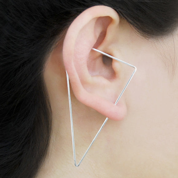 Triangle Silver Ear Cuffs