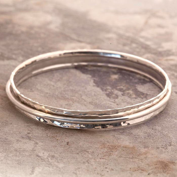 Cone Hammered Silver Bangle