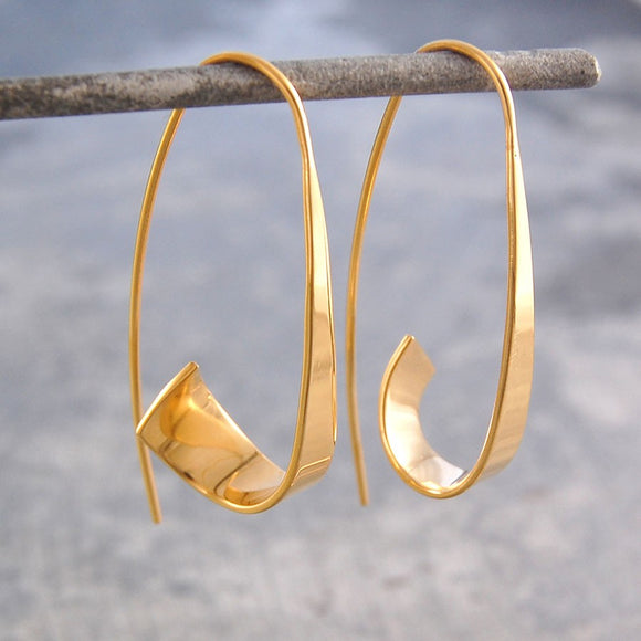 Flared Ribbon Gold Hoop Earrings