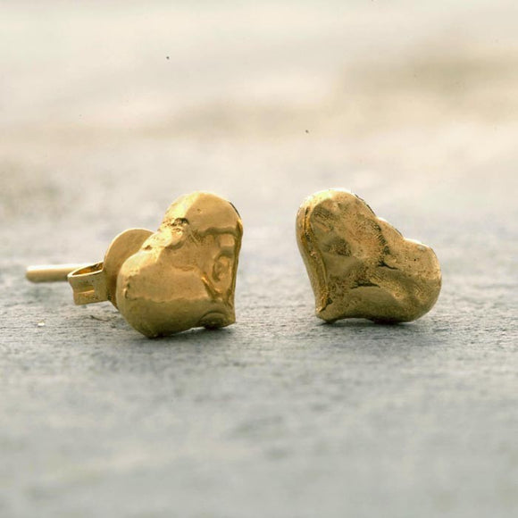 Textured Gold Heart Stud Earrings