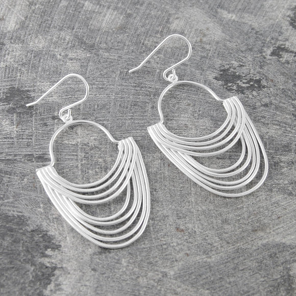 Silver Layered Chain Long Drop Earrings