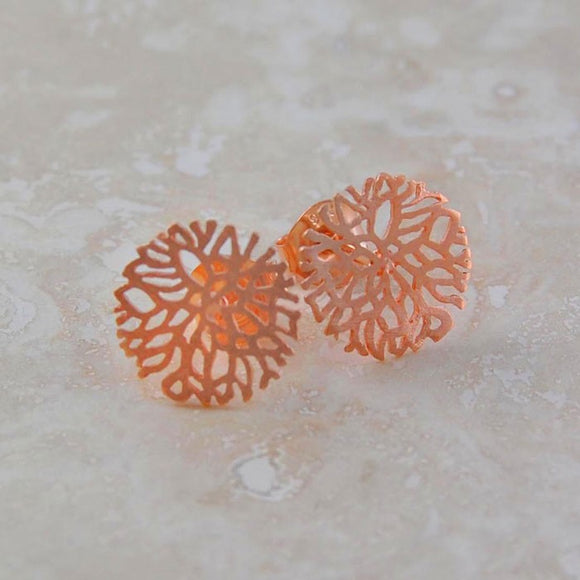 Snowflake Rose Gold Stud Earrings