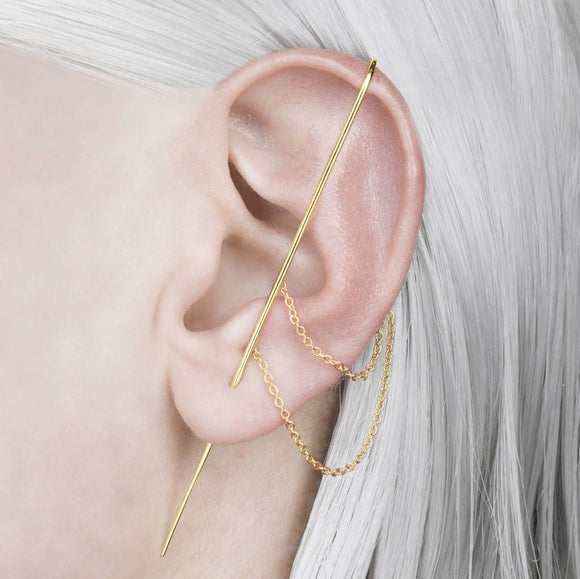 Yellow Gold Delicate Chain Ear Cuff Earrings