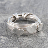Triple Silver Heart Ring