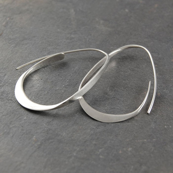 Silver Curl Hoop Earrings