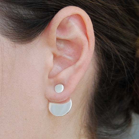 Round Silver Ear Jackets