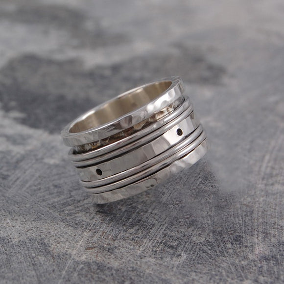Hammered Silver Spinning Ring