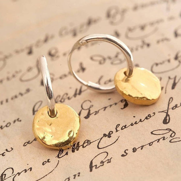 Organic Round Gold Hoop Earrings