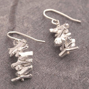 Coral Silver Drop Earrings