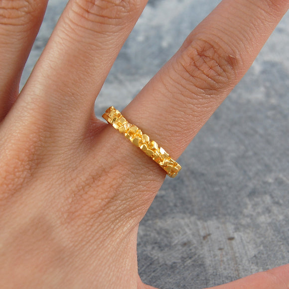 Pyrite Contemporary Gold Ring