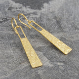 Hammered Grecian Long Drop Gold Earrings