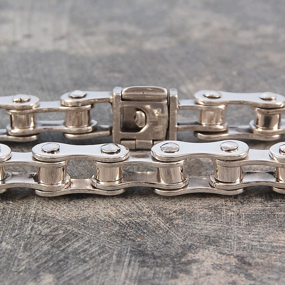 Womens Chunky Silver Bike Chain Bracelet