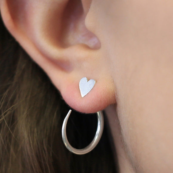Silver Heart Hoop Ear Jackets