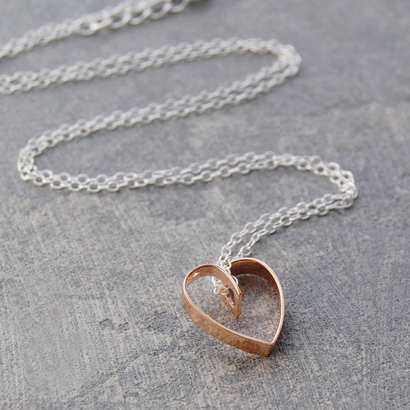 Lace Rose Gold Heart Pendant