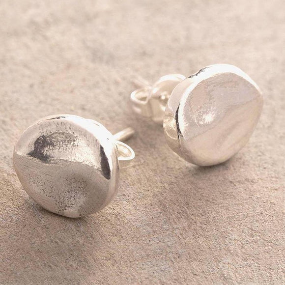 Organic Round Silver Stud Earrings