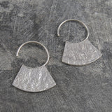 Hammered Grecian Silver Hoop Earrings