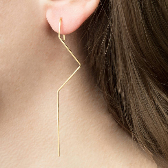 Gold Zig Zag Drop Earrings