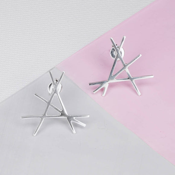 Geometric Sterling Silver Statement Stud Earrings
