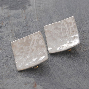 Hammered Square Silver Clip On Stud Earrings
