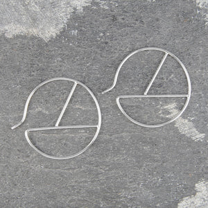 Geometric Round Wire Silver Hoop Earrings