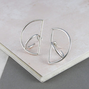 Semi Circle Silver Geometric Earrings