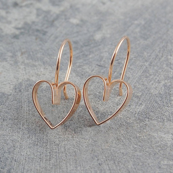 Lace Rose Gold Heart Earrings