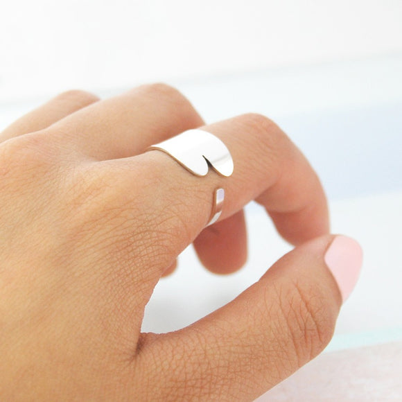 Open Silver Heart Ring