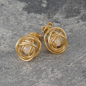 Caged Pearl Gold Knot Earrings in White