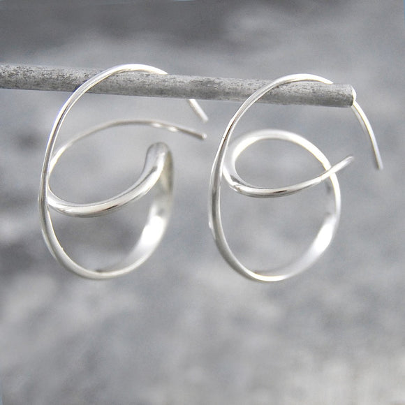 Swirl Silver Hoop Earrings