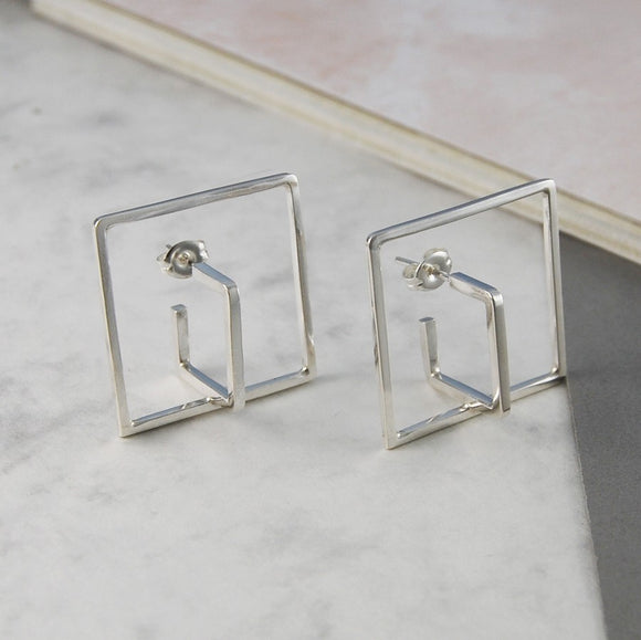 Square Silver Geometric Earrings