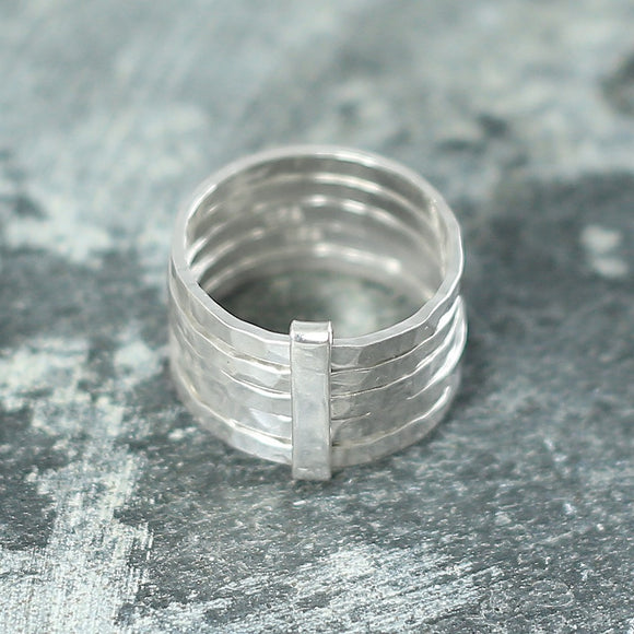 Hammered Silver Stacking Ring